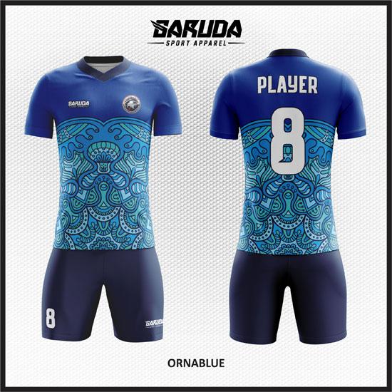 Desain Kaos Bola dan Futsal Dengan Motif Batik biru
