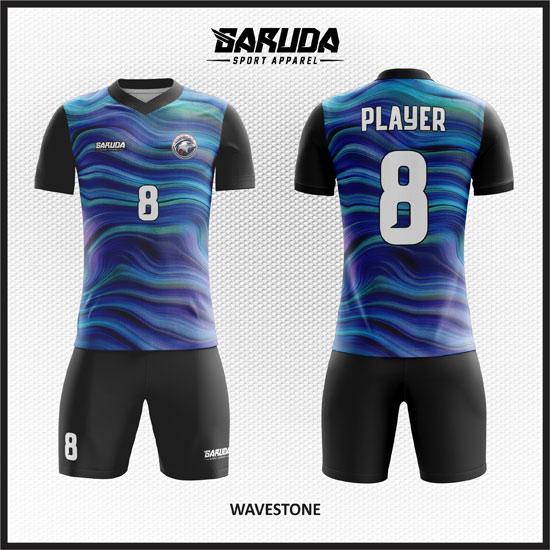 desain kaos futsal biru gradasi terbaik