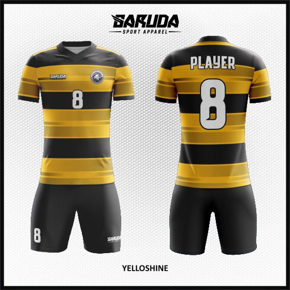 desain kaos futsal full printing warna gradasi hitam kuning keren