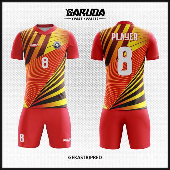 desain kaos futsal full printing warna gradasi merah kuning