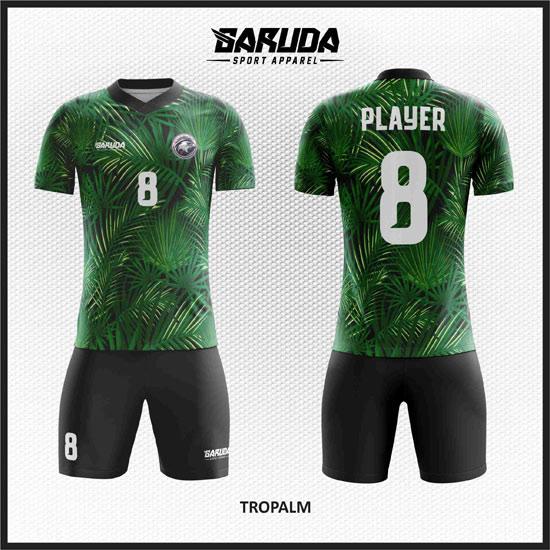 desain kaos futsal full printing warna hijau daun