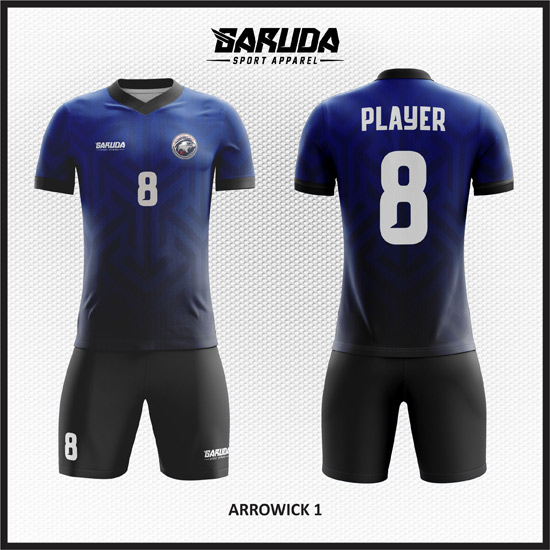 desain kaos futsal gradasi biru dan hitam