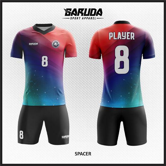 desain kaos futsal gradasi merah dan biru terbaru
