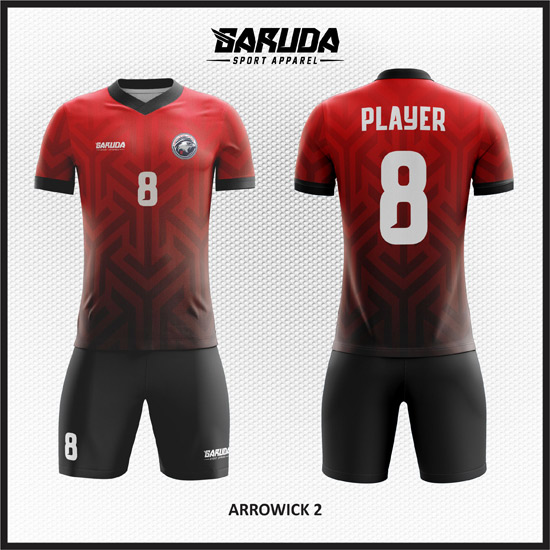 desain kaos futsal gradasi merah dan hitam