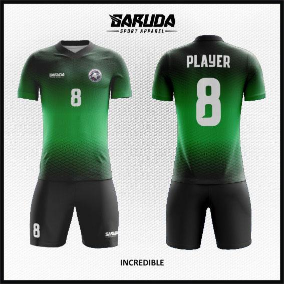 desain kaos futsal hijau hitam gradasi