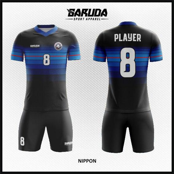 desain kaos futsal keren full print biru hitam