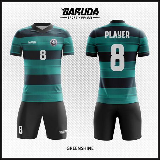 desain kaos futsal keren full print gradasi hijau hitam