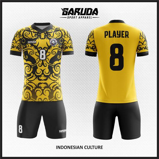 desain kaos futsal printing gambar batik warna kuning
