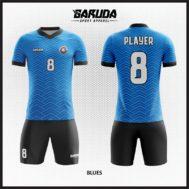DesainJersey Futsal Biru Hitam Bergelombang Yang Keren Dan Sporty