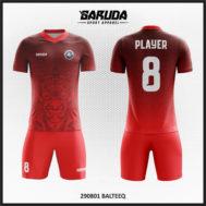 Desain Jersey Futsal Warna Merah Yang Unik Motif Topeng Bali