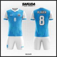 Desain Seragam Kaos Futsal Warna Biru Putih Motif Kalem Yang Dinamis