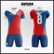 Desain Jersey Sepakbola Warna Biru Merah Putih Full Printing Yang Unik