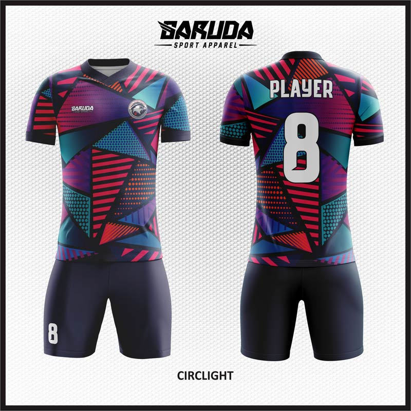 Desain Baju Futsal Printing Motif Segitiga Yang Keren