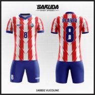 Desain Jersey Kaos Futsal Warna Merah Putih Bergerigi