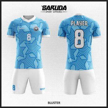 Desain kostum futsal Warna Biru Putih Motif Bintang Yang Trendy