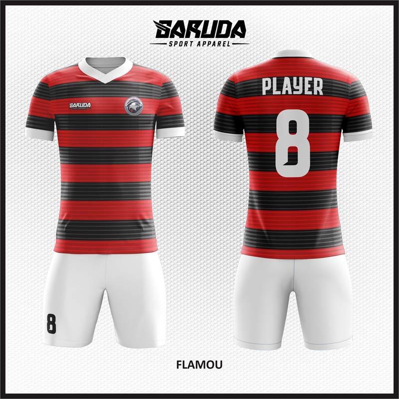 Desain Baju Futsal Full Print Warna Merah Hitam Tampil Gagah