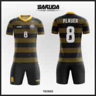 Desain Jersey Futsal Warna Hitam Kuning Garis Horizontal Tampil Elegan