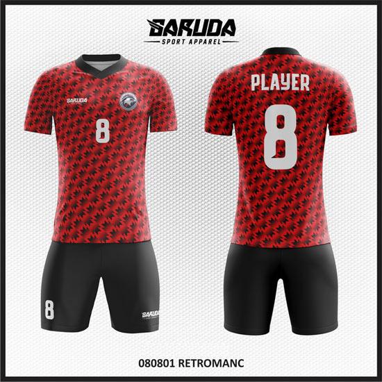 Desain Baju Futsal Warna Merah Hitam Yang Kalem Dan Dinamis