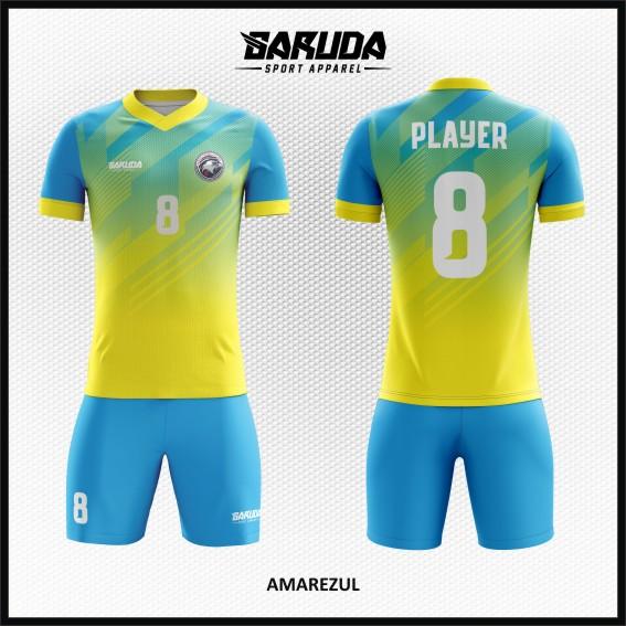Desain Kaos Bola Futsal Warna Kuning Biru Tampil Lebih Trendy