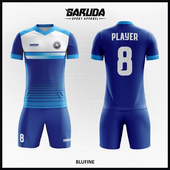 Desain Jersey Futsal Printing Warna Biru Minimalis Tapi Keren