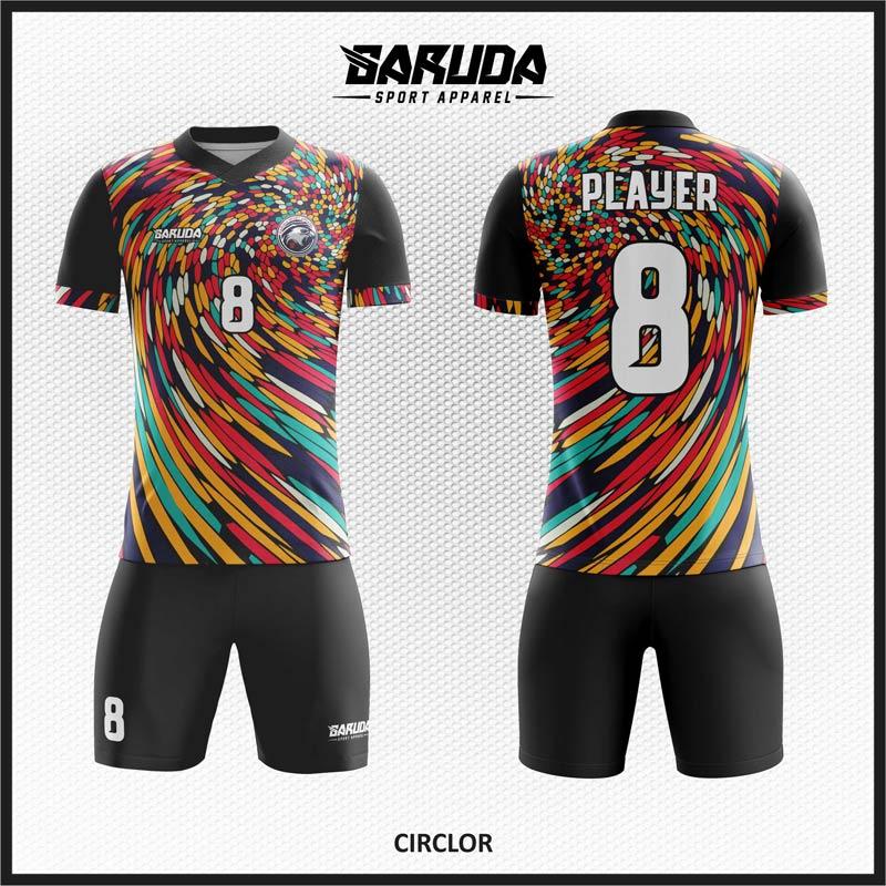 Desain Kostum Bola Futsal Printing Motif Warna Warni Yang Unik