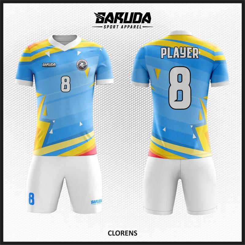 Desain Kostum Sepak Bola Yang Keren Warna Biru Kuning Dan Putih