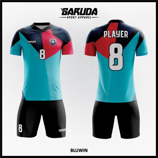 Desain Baju Futsal Printing Warna Biru Hitam Dan Merah Yang Keren