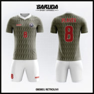 Desain Baju Bola Futsal Warna Abu Abu Motif Garis Garis Bergerigi