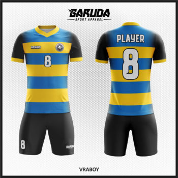 Desain Baju Bola Futsal Printing Warna Kuning Biru Hitam Yang Elegan