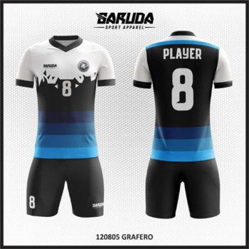 Desain Baju Futsal Printing Gradasi Warna Hitam Putih Dan Biru