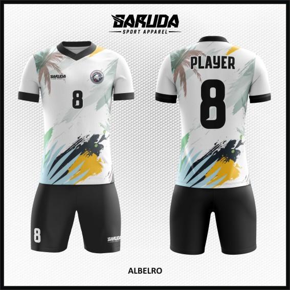 Desain Kostum Sepakbola Printing Warna Hitam Putih Motif Pemandangan Pantai