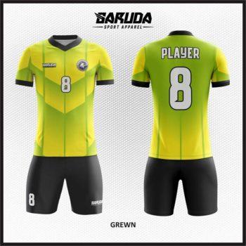 Desain Jersey Futsal Printing Gradasi Warna Kuning Hijau Dan Hitam
