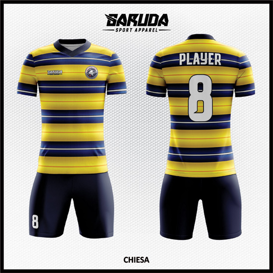 Desain Kostum Sepak Bola Warna Kuning Biru Hitam Yang Keren