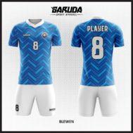 Desain Seragam Sepakbola Printing Warna Biru Produk Terbaru
