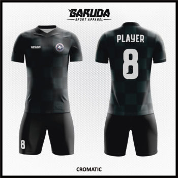 Desain Baju Futsal Full Print Warna Hitam Yang Elegan
