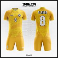 Desain Kostum Futsal Motif Naga Warna Kuning Yang Keren