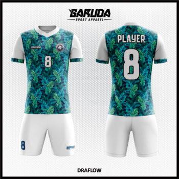 Desain Baju Bola Futsal Full Print Motif Daun Kekinian