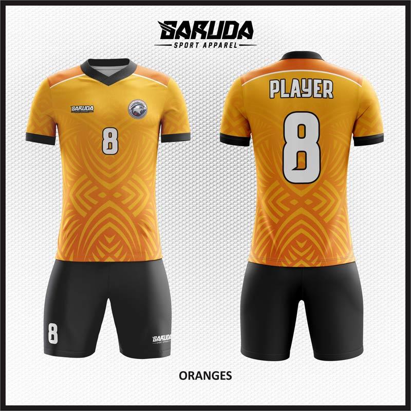 Desain Kaos Futsal Motif Etnic Gradasi Warna Orange Hitam