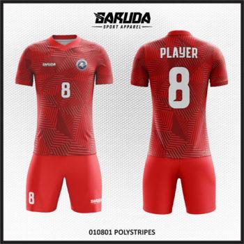 Desain Baju Futsal Full Print Warna Merah Yang Elegan