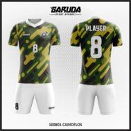 Desain Baju Futsal Warna Doreng Motif Army Terbaru
