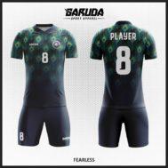 Desain Jersey Futsal Full Print Warna Hitam Motif Bulu Merak