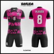 Desain Kaos Futsal Motif Bunga Warna Pink Hitam Yang Anggun