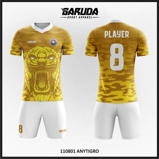 Desain Baju Bola Futsal Full Printing Warna Loreng Macan