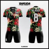 Desain Jersey Futsal Full Print Warna Hitam Motif Bunga