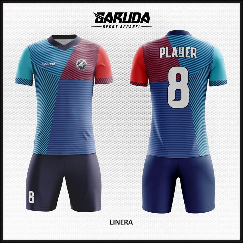 Desain Kostum Futsal Motif Zig Zag Gradasi Warna Biru