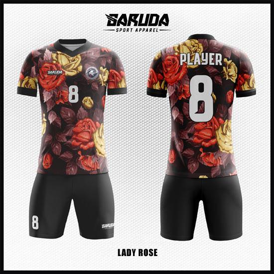 Desain Baju Futsal Full Print Motif Bunga Yang Cantik Dan Anggun