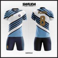 Desain Jersey Futsal Motif Garis Diagonal Warna Putih Biru