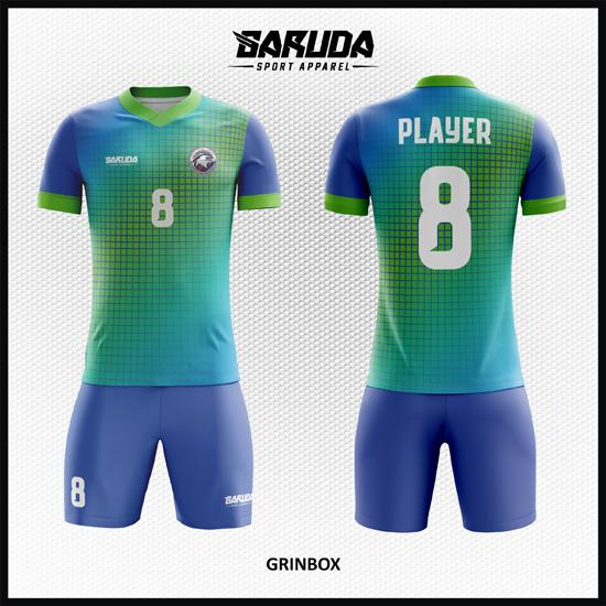 Desain Jersey Futsal Full Print Gradasi Warna Biru Hijau Yang Bikin Takjub