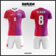 Desain Kaos Futsal Printing Warna Merah Ungu Yang Trendy Dan Kekinian