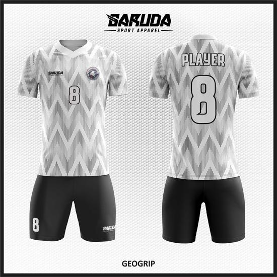 Desain Baju Sepakbola Printing Warna Putih Abu Abu Yang Unik Bergelombang